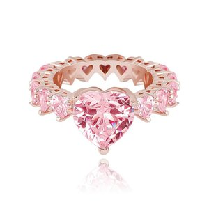 Heart Zircon Rings For Women Fashion 18K Gold Rhodium Plated Copper Wedding Rings Luxury Hip Hop Rings