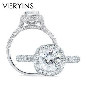 Обручальное кольцо Moissanite Halo Romantic 14K White Gold Центр 1.5ct 7мм Подушка Cut для женщин Свадебное T200905