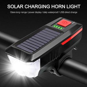 luz bicicleta Solar USB Rechargeable Double Charging Horn Lamp Waterproof Bicycle Headlight Bike Front Light Waterproof + Horn