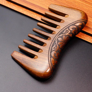 Yeni Cep Ahşap Tarak Doğal Altın Sandal Ağacı Süper Geniş Diş Ahşap Combs Çift tarafı oyulmuş küçük saç LX2736 tarayış
