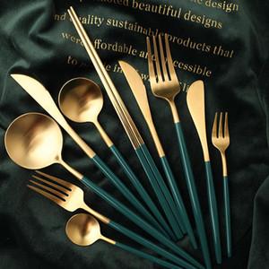 Посуда Набор столовых приборов Silverware Western Dinner Set Вилка Ложка Нож Посуда Палочки золото из нержавеющей стали