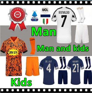 축구 셔츠 유벤투스 축구 유니폼 DYBALA DE LIGT 로날도 부폰 MANDZUKIC 드 2021 남자와 아이들 Maillots