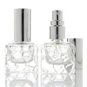Mini Portable 10Ml Tranparent Glass Square Parfume Bottle Fine Mist Spray For Makeup Remover Moisturizing Liquid Aftershave Vial