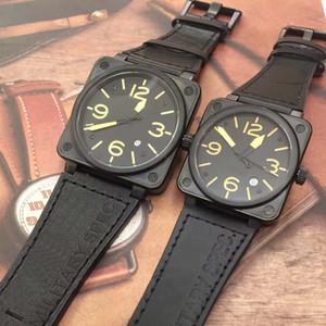 Nouveau Style Style De Mode Square Mouvement Squar Noir Cadran Noir Jaune 46mm Montres Montres Black Cuir Sangle Homme Montre-Bracelet