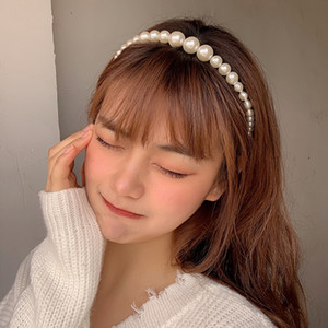 Trendy Luxury Big Pearl Headband for Women Elegant Headband Wild Personality Fashion Bezel Turban Girls Hair Headwear Jewelry