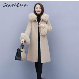 Winter Fashion Plus Tize Piel Trim con capucha Mujeres Abrigos estilo coreano Single Breasted Abrigos Damas