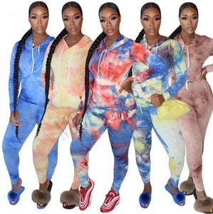 Kadınlar Uzun Kollu Hoodie Seti 2 adet giyim Kravat boya Kazak tişört Tozluklar Pantolon Eşofman Kazak spor kıyafetler SATIŞ D81010 uyacak