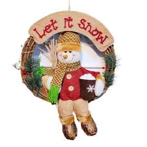 Christmas Large Solid Wood Rattan Door Wreath Hanger Cute Xmas Doll Door 67JB
