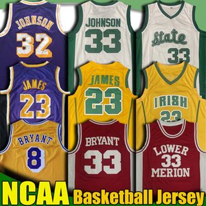 NCAA Lower Merion 33 Bryant Jersey St. Vincent LeBron James 23 maglie Earvin Michigan Johnson Jersey University College Basketball Maglie