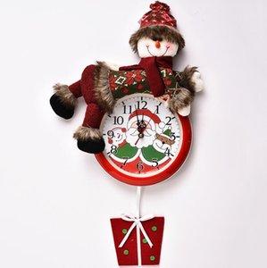 Christmas suspendu horloge Santa Claus Bonhomme de neige Christmas Suspension murale Horloge Merry Noël Home Restaurant Chambre à coucher Chambre à coucher Décoration DHE3874