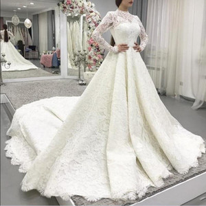 High Neck Long Sleeves Full Lace Wedding Dresses 2021 with Appliques Court Train Plus Size A Line Wedding Bridal Gowns