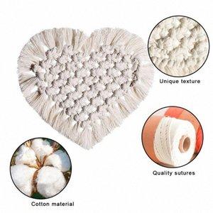 Coração Corda rendas de algodão, tecidos à mão em forma de Placemats Bohemia Estilo Decor Tabela Mat Tabela Mat Cup 7k9j #