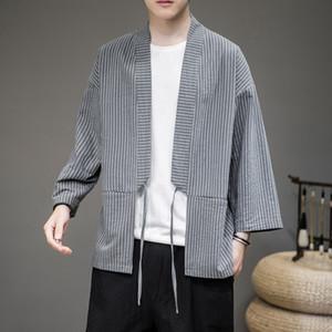 summer jacket men streetwear jacket coat windbreaker for men Cardigan man stripe Chinese style Tang suit open stitch