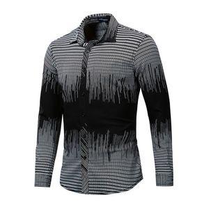 Mens 3D petits chemises à carreaux printemps automne tombeau col à manches longues couleur gradient couleur plus taille chérie occasionnel Hommes Mode NOUVEAU Style Vêtements de style