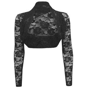 Weiß Schwarz Frauen-Mantel-Weinlese-Partei-Kurzschluss Tops geerntete Knitwear Shrug Langarm Offener Stich dünne Spitze Jacken Bolero Lady