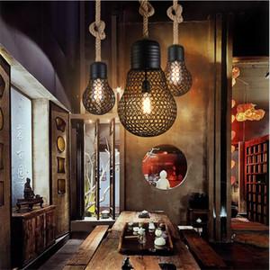 Hohleisen Vintage Loft Pendelleuchten kreative Pendelleuchte Hanfseil Hanglamp Befestigungen für Home Lightings Lamparas Colgantes