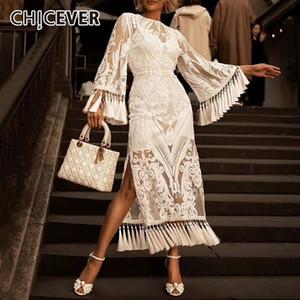 Remiendo Taza CHICEVER verano cordón de la vendimia del vestido blanco para las mujeres del cuello de O de la llamarada de la manga de la alta cintura una línea de los vestidos de 2020 nuevas
