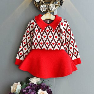 2020 new Autumn Winter Knitting Girls Suits Love Girls Outfits Fashion Sweater+Skirts 2pcs set little girls clothes kids clothes B2029