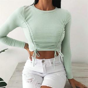 Foridol de punto de encaje fruncido hasta cimas recortadas las mujeres otoño invierno manga larga blusa verde tops casuales blanco delgado 2020