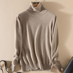 TONFUR tricot à col roulé Automne Hiver Pull Femmes, match de base solide mélange cachemire Femme Col roulé overs Y200819