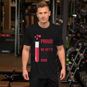 Interesante Lab Tech Run Spun y hecho orgulloso del técnico de laboratorio Camisetas Tallas S-5XL Equipada Slim Fit