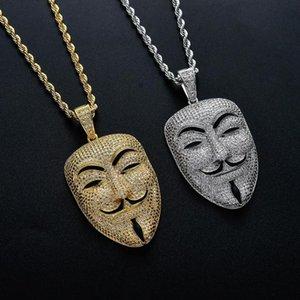 V per la maschera di Vendetta ciondolo con collana Hip Hop Zircon