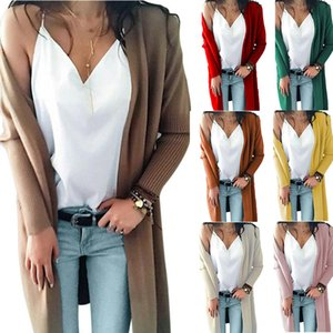 Autumn and Winter New European and American Style Foreign Trade Knitwear Double Pocket Mid-Length Knitted Cardigan Sweater Women