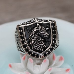 925 Sterling Silver Ornament Hand-Inlaid Artificial Obsidian Unicorn Seiko Men's Ring New