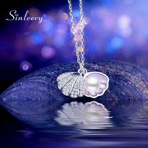 SINLEERY elegante Perlen-Halskette Silber Farbe Kettenkristall Shell-Halskette für Frauen-Schmucksachen XL163 SSP