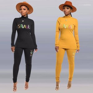 Collar Sports Womens Fashion Tracksuits Letter Embroidery Womens Designer Tracksuits Solid Color 2 Piece Pants Sexy Slim Long Sleeved High