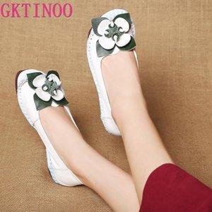 GKTINOO Designer Vintage Loafers Verão Mãe das mulheres de couro genuíno Flats flor branca Sapatos de couro Mulher Flats