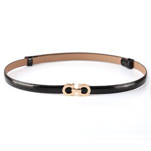 Summer Fashion Mulheres Cintos de luxo feminina patente couro Designer Magro Vestido Belt Ladies Rose ouro Cintos Buckle cintura