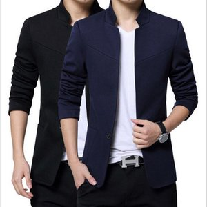 VXO Mens blazer Mens Chinese Blazers Casual Cotton Men Cotton Men Blazer Jacket Single Button Stand Collar plus size
