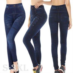 2020 Autumn amp; Sottili di inverno Donne Leggings Faux Denim Jeans Pocket seamless stampa Skinny dei pantaloni della matita
