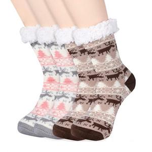 Natal Plush Thick Tapete Meias Outono Inverno Mulheres Início Meias dos desenhos animados Elk Piso Socks Velvet antiderrapante Stocking Quente