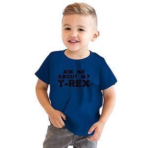 Boys Cartoon T-shirts dinosaur Inside Letter Soft T Shirt For Boys Children Summer Short Sleeve T-shirt Cotton Tops Clothing