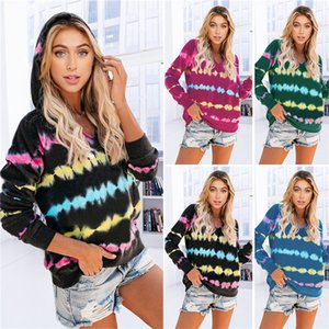2020 Mujeres Tie-dye latido del corazón impresión de la manga larga con capucha superior Sweater Otoño e Invierno Todo-fósforo ocasional del D81014 suelta Deportes Ropa