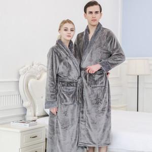 L'automne et l'hiver nouvelle mode couple de personnalité pyjama en flanelle chemise de nuit à la mode des femmes longues épais hommes peignoir