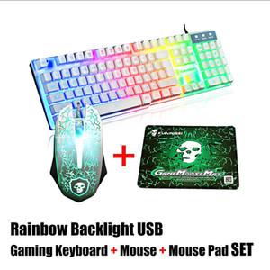 PC Dizüstü Bilgisayar Oyun YENİ için 2400 Fare + Mouse Pad Seti Kit + LED Gökkuşağı Arka Işık USB Ergonomik Kablolu Gaming Klavye