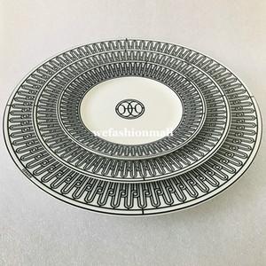 High-end seramik sofra siyah çizgi plakalar set kemik çini yemek porselen yemekleri 6 inç 8 inç düz plaka fincan ve tabağı moda ev