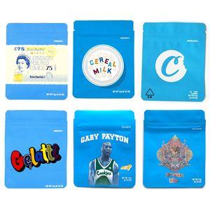 2020 Biscotti Edibles Borse da imballaggio Cookies SF 3.5G 420 Borse Mylar Cake Ghepart Gheethah Piss Gelatti Gary Payton Cereale Latte Stickers Ologramma 3D