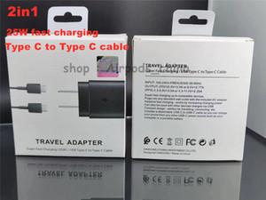 لسامسونج ملاحظة 10 شاحن S20 الولايات المتحدة الاتحاد الاوروبي السوبر شحن سريع 25W PD محول الطاقة USB نوع C إلى C USB كيبل PD QC3.0 السريع الحبل تهمة مع صندوق