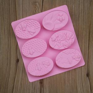 Envío libre de la venta caliente de silicona con 6 Little Bee jabón hecho a mano de la torta del molde del molde Fácil de desmoldeo de bricolaje Herramientas para hornear