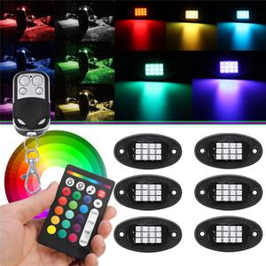 6PCS / مجموعة LED روك الضوء تحت الجسم ضوء 18W RGB سيارة ملون الغلاف الجوي مصباح بلوتوث الطرق الوعرة لاقط SUV ATV شاحنة روك مصباح