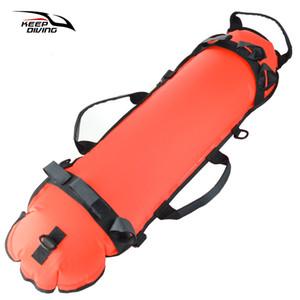 Buceo de superficie de flotación inflable baliza con buceo engranaje de la bandera de Seguridad Equipo del salvavidas Flotador para la pesca submarina y el buceo con