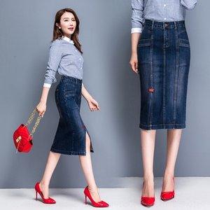 BGJFH H4Fgq 2020 denim denim skirt- LINE One-Step printemps mince nouvelle étape Une jupe couverte de hip-split robe de ligne A mi-longueur