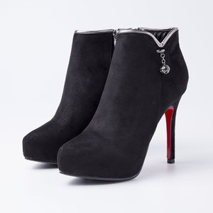 Hot Sale- Women Shoes Short Ankle Boots Pointed Toe Flock Suede High Quality Wholesale Winter Comfortable Shoes