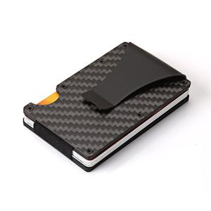 designer de moda ultra-titular de metal de alumínio cartão de visita dinheiro fibra de carbono clipe fina rfid carteira de bloqueio para homens mulheres