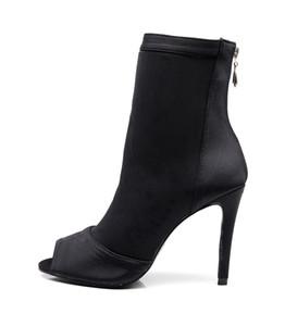 Delle donne delle signore di ballo stivali tacco alto scarpe comode tessuto elastico ballo Latino Dance Gilrs suola di gomma Latin Dancing Shoes