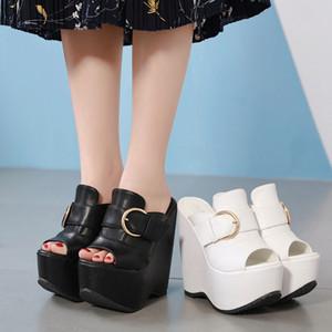 16cm Kadınlar Yüksek Topuklar Terlik Siyah 7cm Platform Wedges Ayakkabı Moda Gladyatör Sandalet Bayanlar Yüksek topuk Sandalet Kadınlar Terlik